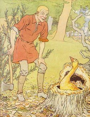 Simpleton finds The Golden Goose: illustration...